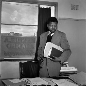 Nelson Mandela in his law office, 1952.jpg