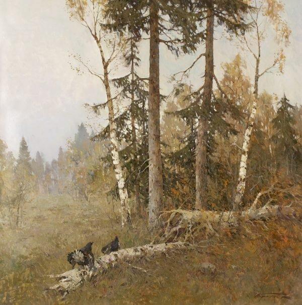 Kremer - Black Cockrel on Log 75 x 80- cm.jpg